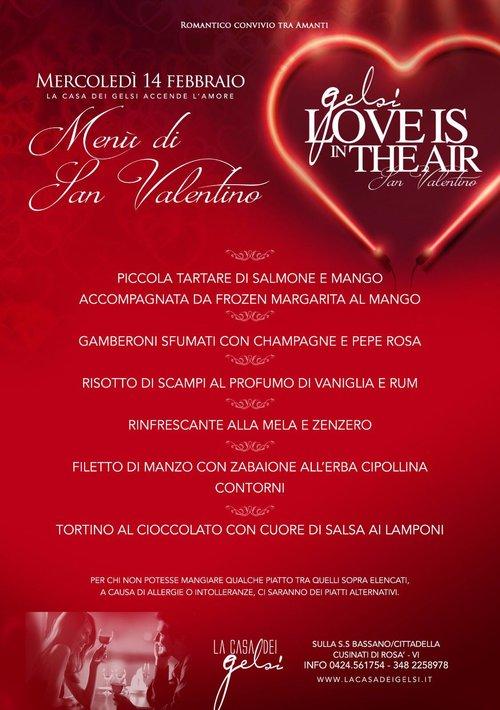 Menu San Valentino 2018 ai Gelsi