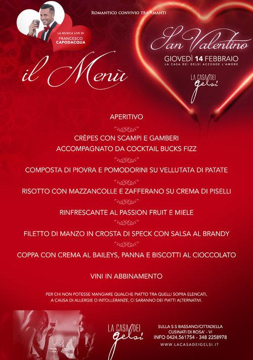 Valentino menu 2019