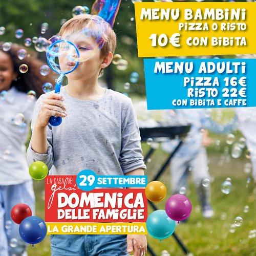 menu Domenica Famiglie Gelsi - 29 settembre 2019